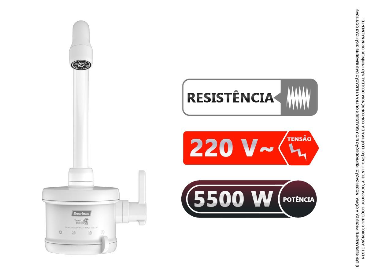 Torneira Elétrica Cozinha 4 Temp 1/4 Volta 5500w 220v