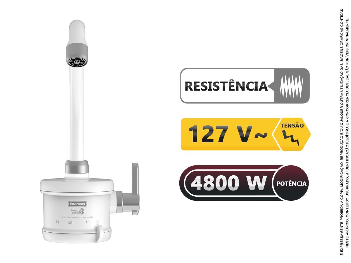Torneira Elétrica Cozinha 4 Temperaturas Enerbras 1/4 Volta