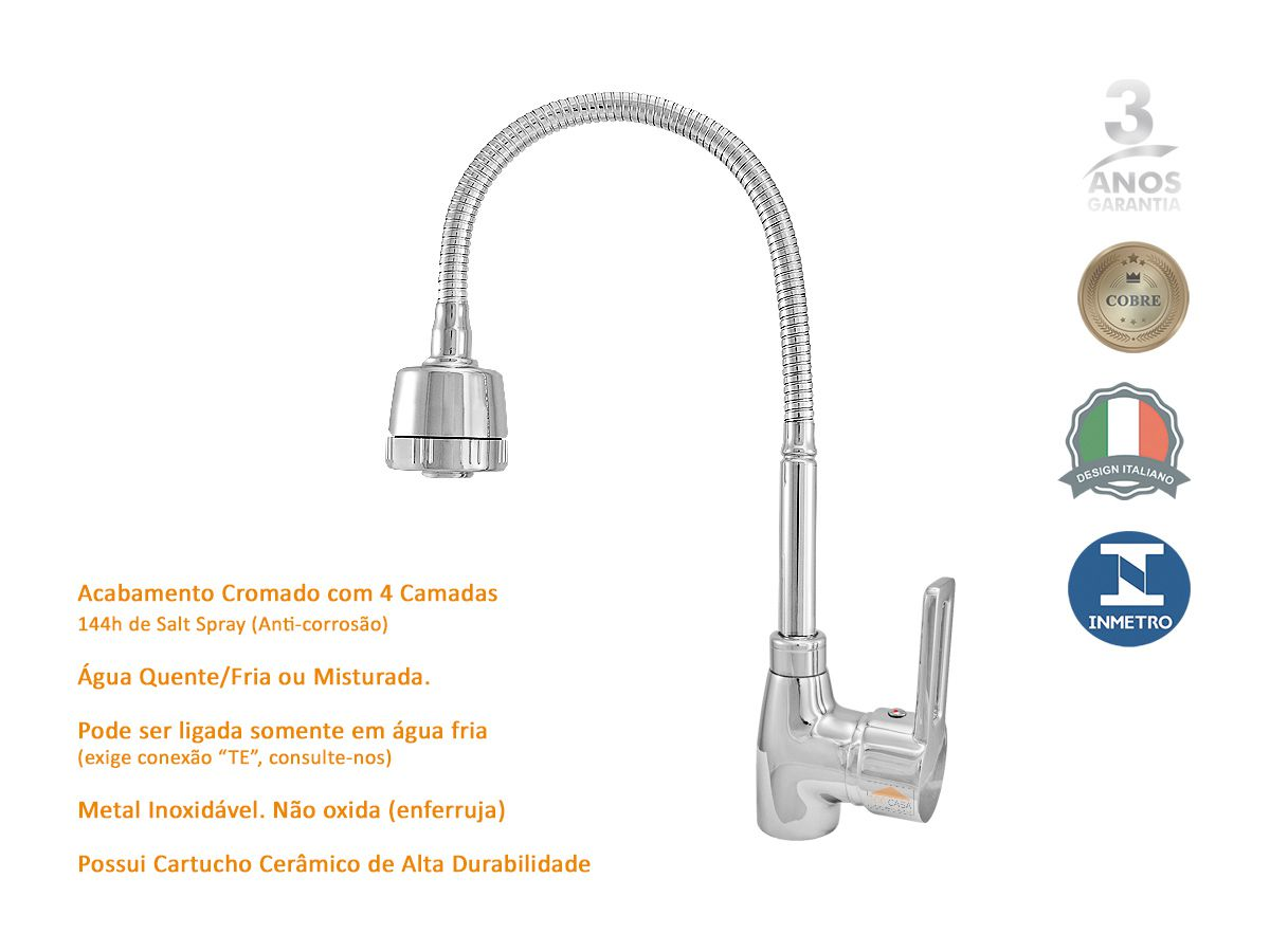 Torneira Mesa Monocomando Gourmet Spray Plus Metal - PD 2019