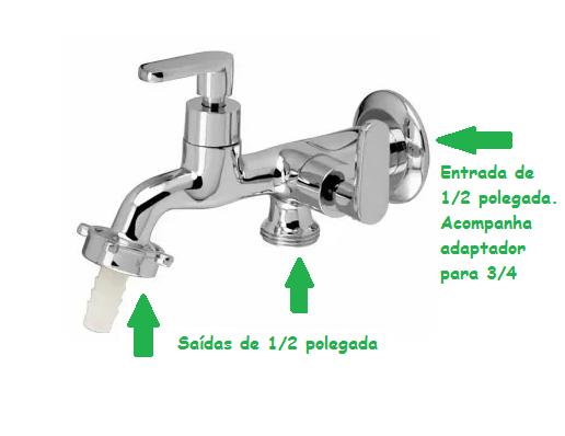 TORNEIRA PARA TANQUE E MÁQUINA DE LAVAR METAL 1/4 DE VOLTA PADUA 1131