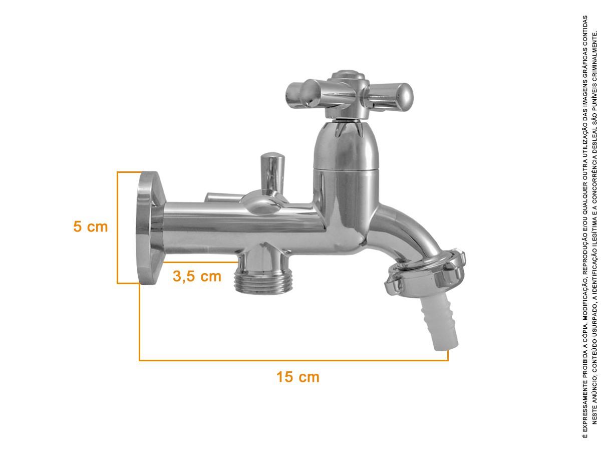 Torneira Tanque/maquina 2 Saídas Abs Cromado Slim 1/4 V
