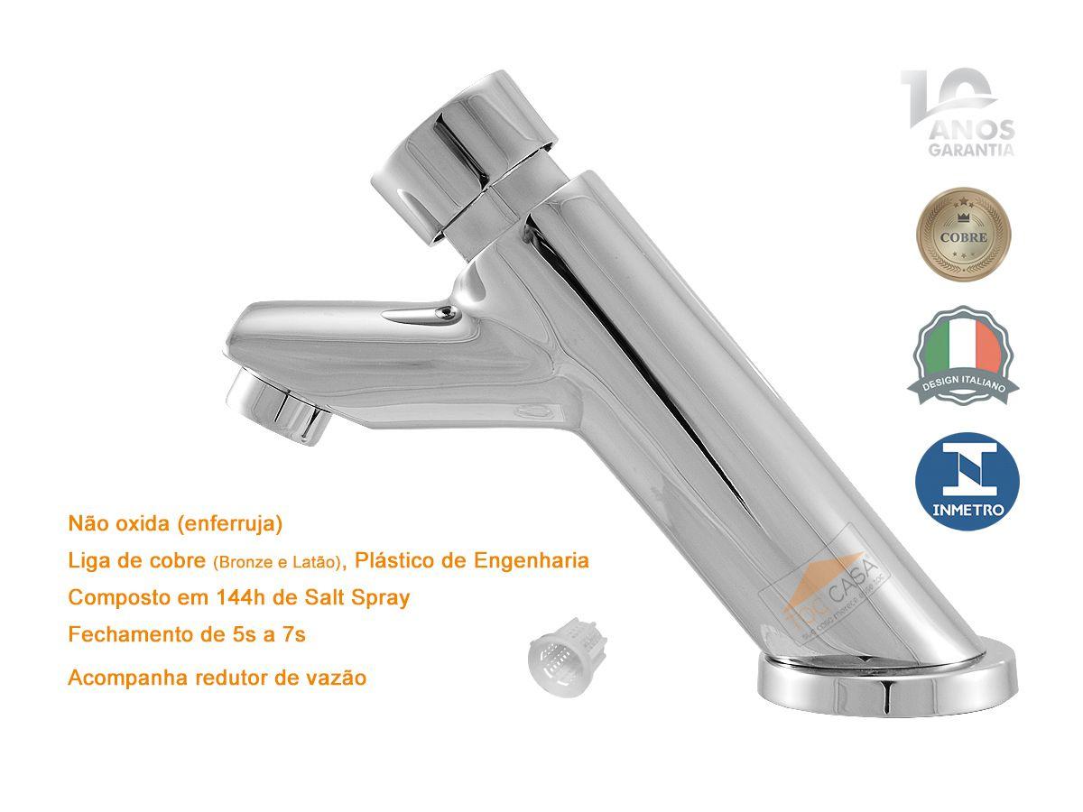 Torneira Temporizada Automática Para Lavatório Banheiro Mesa Metal - Sigmatic 1191