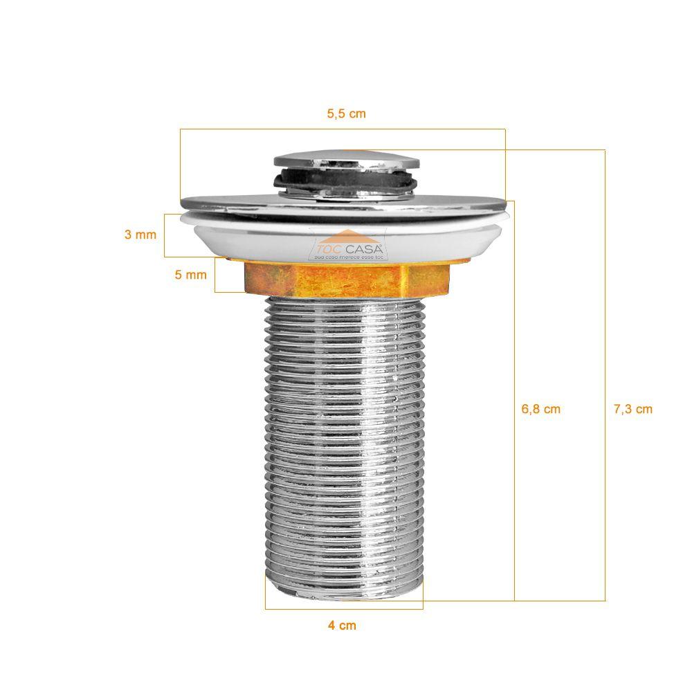 Válvula Click Inteligente 4cm Ou 40mm + Sifão Cromado Extensivel