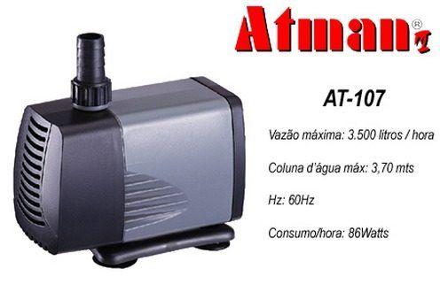 Bomba Submersa Atman At107 - Aquários, Fontes E Lagos - 110v  - FISHPET