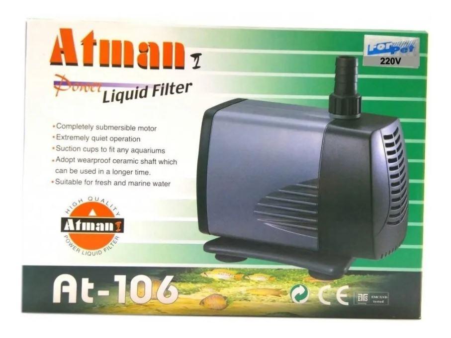Bomba Submersa P/ Aquarios Fontes Atman At-106 3000l/h  - FISHPET Comércio de Acessórios para Animais Ltda.