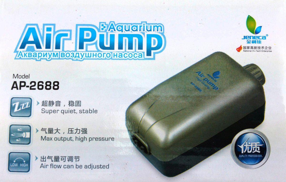 Compressor De Ar P/ Aquário Aleas Ap-2688 Com 2 Saídas   - FISHPET Comércio de Acessórios para Animais Ltda.