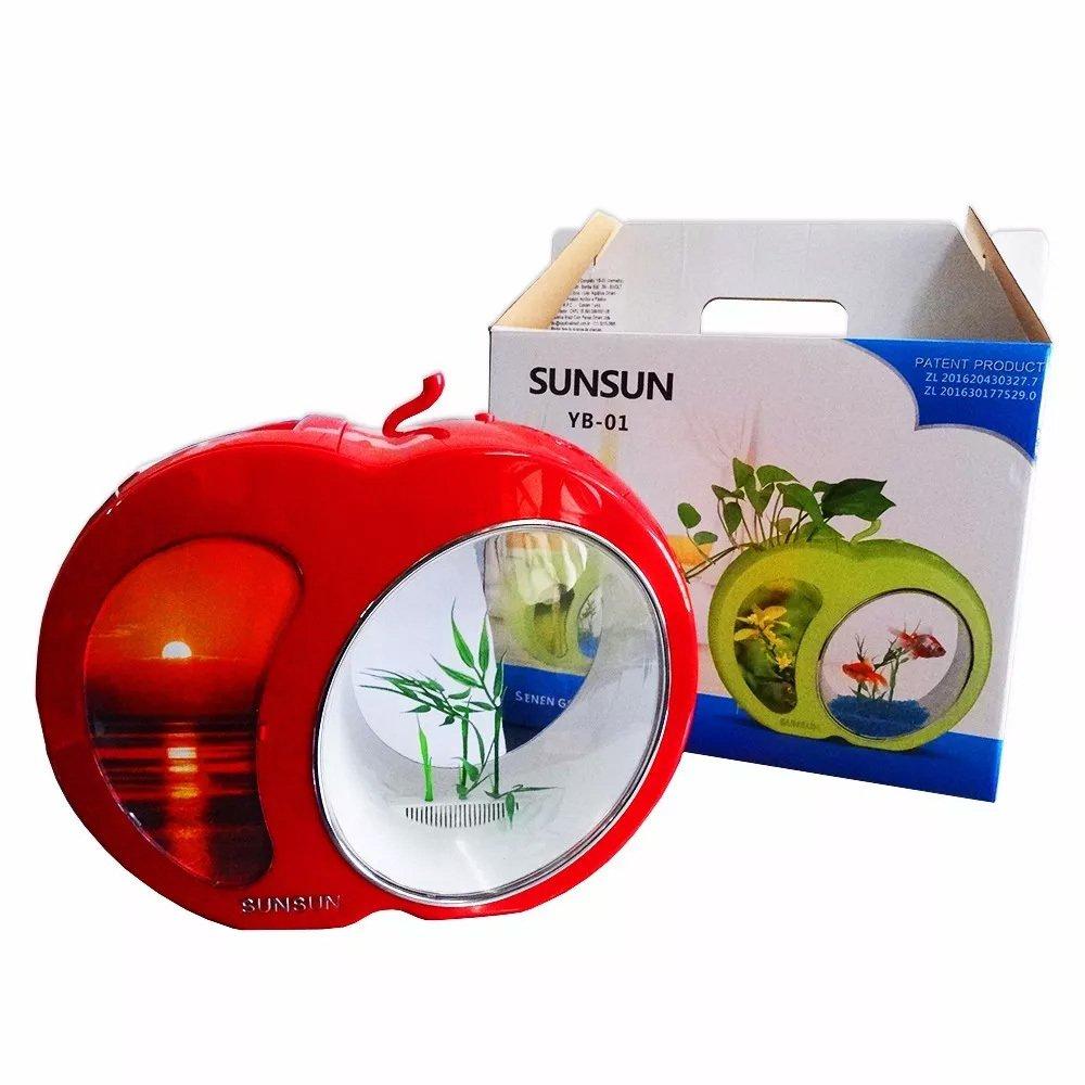 Mini Aquario Sunsun Yb-01 Led Acrílico Vermelho 3,5l Bivolt  - FISHPET Comércio de Acessórios para Animais Ltda.