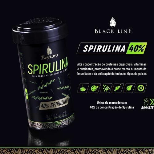 Poytara Spirulina M 40% 45g Black Line Água Salgada/ Doce  - FISHPET Comércio de Acessórios para Animais Ltda.