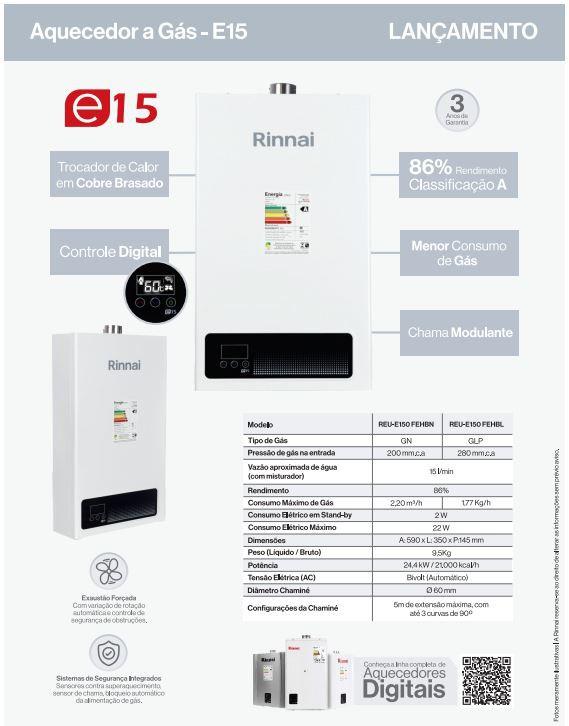 AQUECEDOR DIGITAL A GÁS RINNAI E15