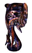 mascara de elefante em madeira natural