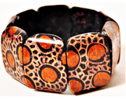 Pulseira Balinesa Woodwork Orange Circles