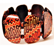 Pulseira Balinesa Woodwork Orange Abstract