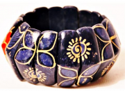Pulseira Balinesa Woodwork Blue Flower