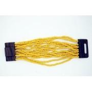 pulseira em missanga amarela