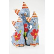 Trio de Gatos em madeira
