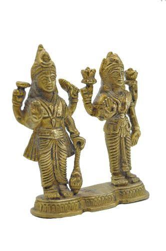 Vishnu e Maha Lakshmi em Bronze