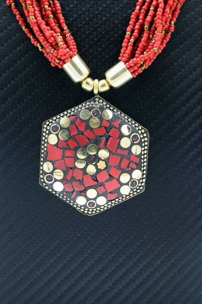 Colar Indiano Red Beads