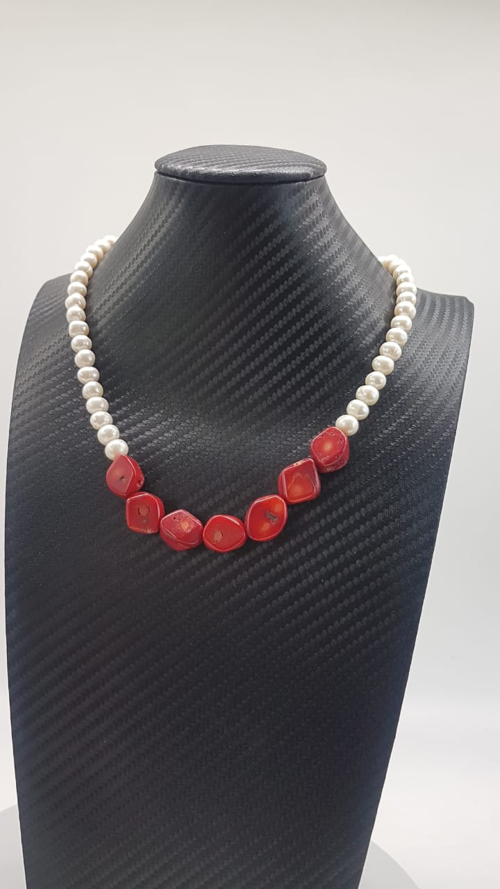 Colar Indiano Red Pearl
