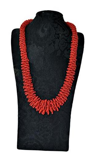 colar indiano torçal vermelho