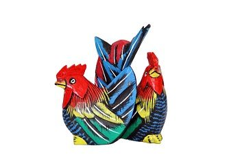 escultura de casal galo e galinha blue tail