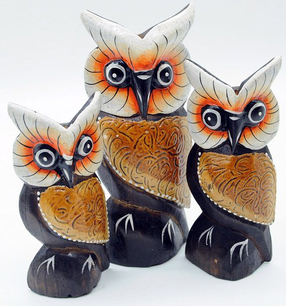 Trio de Corujas Orange Abstract Grande