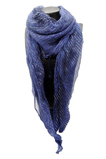 Lenço indiano em lurex azul