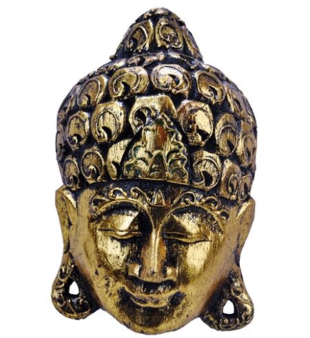 Mascara de Buda Dourada em Madeira Pequena