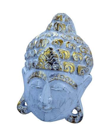 Mascara de Buda em Madeira Branca com Dourado Pequena