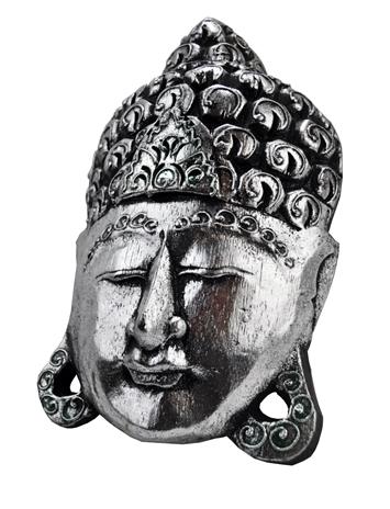Mascara de Buda Prateada em Madeira Grande