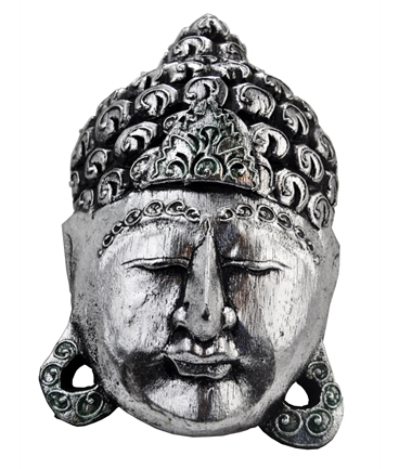 Mascara de Buda Prateada em Madeira Pequena