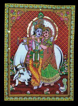 Pano Indiano Decorativo Rama Sita Red