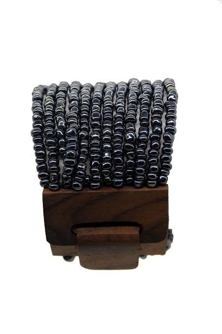 pulseira em missanga prata