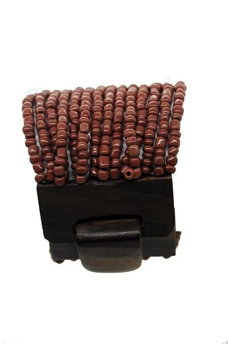 pulseira em missanga marron