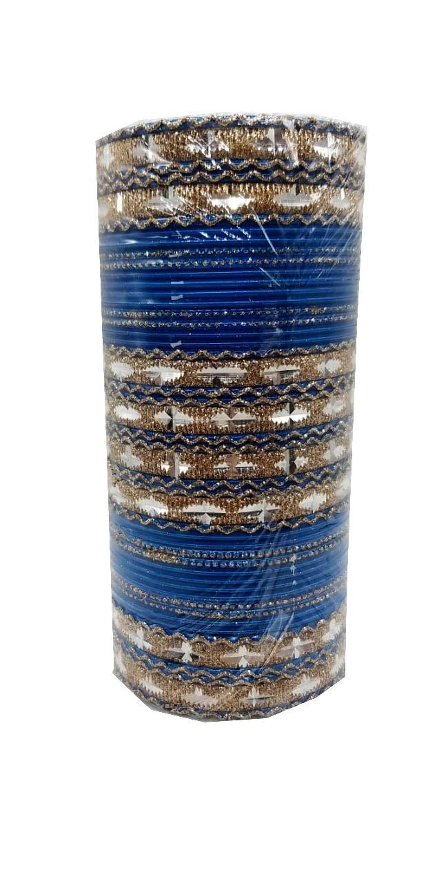 pulseira indiana em metal colorido golden blue