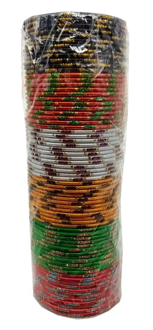 pulseira indiana em metal colorido golden strips