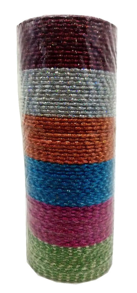pulseira indiana em metal colorido glitter style