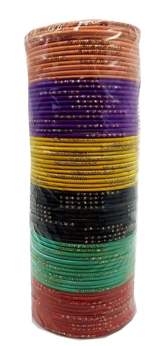 pulseira indiana em metal colorido glitter dots