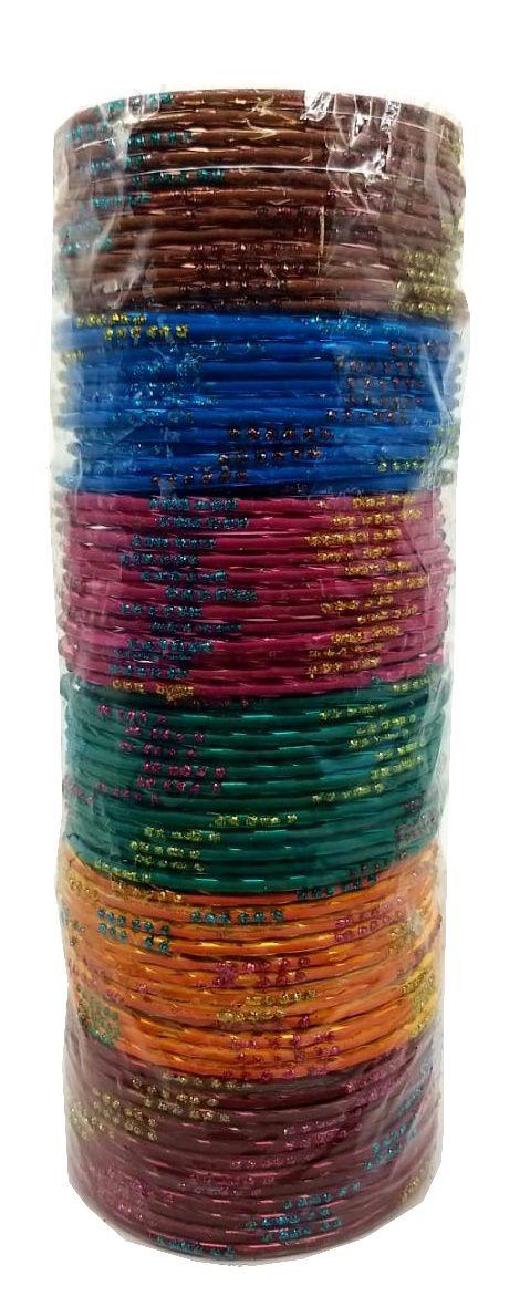 pulseira indiana em metal colorido blue strips