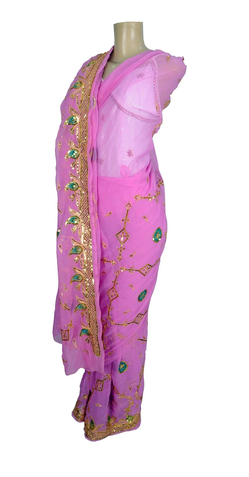 Saree Indiano Green Flower