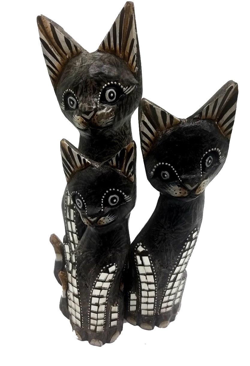 Trio de Gatos em madeira mirror