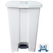 Cesta De Lixo Lixeira Com Pedal 100 Litros C/ Suporte Branca JSN