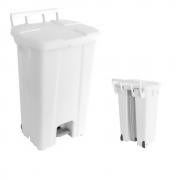 Cesta De Lixo Lixeira Com Pedal e Rodas 100 Litros C/ Suporte Branca JSN
