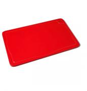 Tábua Placa De Corte Polietileno Canaleta 37x25x1 Vermelh Bg