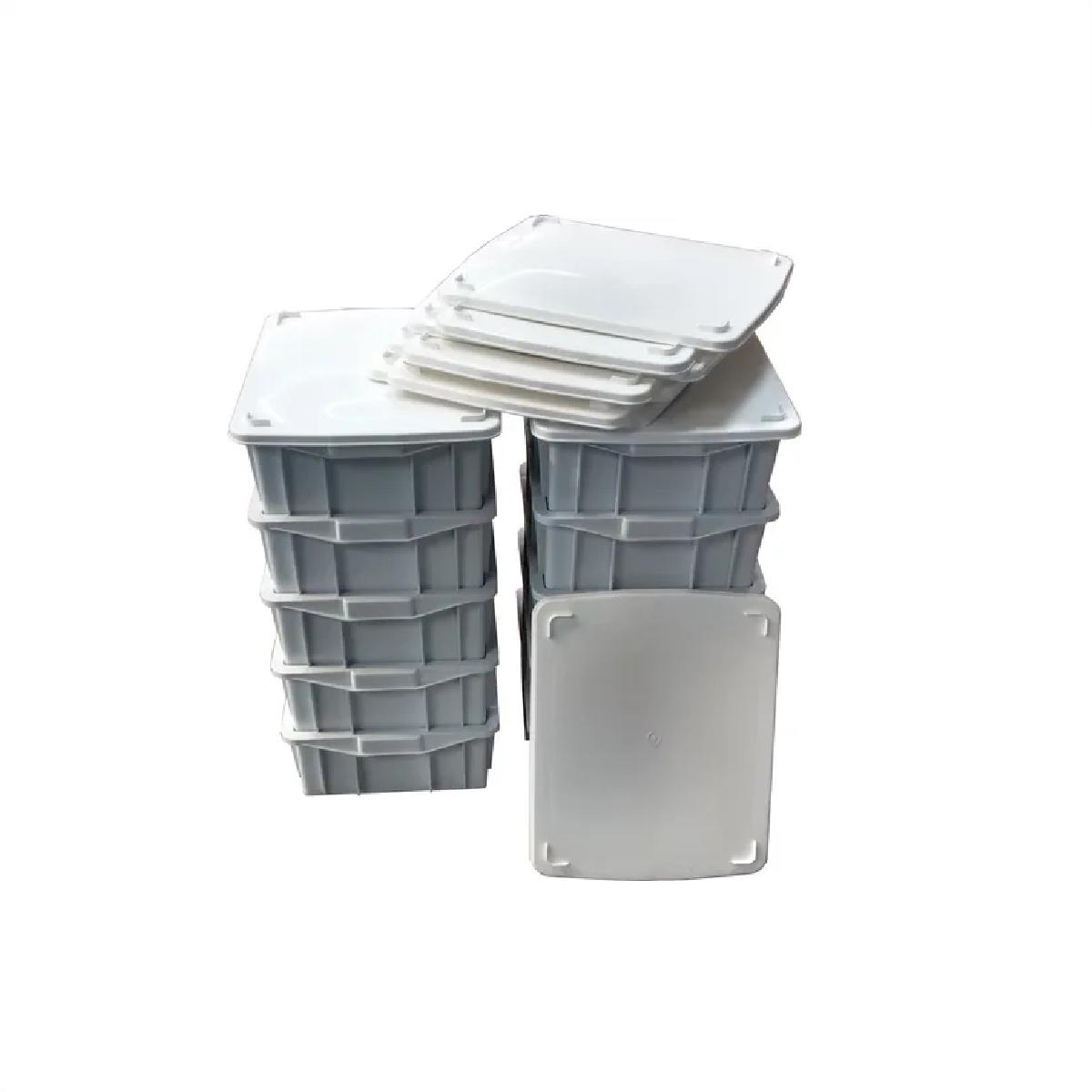 Caixa Plastica Fechada 15 Litros Com Tampa Branca  - LZ COZINHA