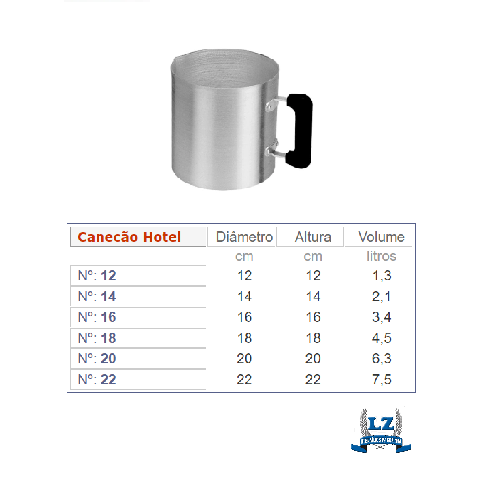 Canecão Leiteira Industrial Alumínio Hotel 18 cm  4,5 lts Com Cabo Baquelite-Profissional   - LZ COZINHA