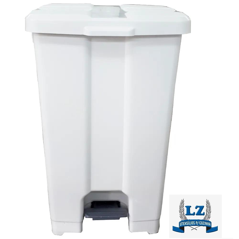 Cesta De Lixo Lixeira Com Pedal 100 Litros C/ Suporte Branca JSN   - LZ COZINHA