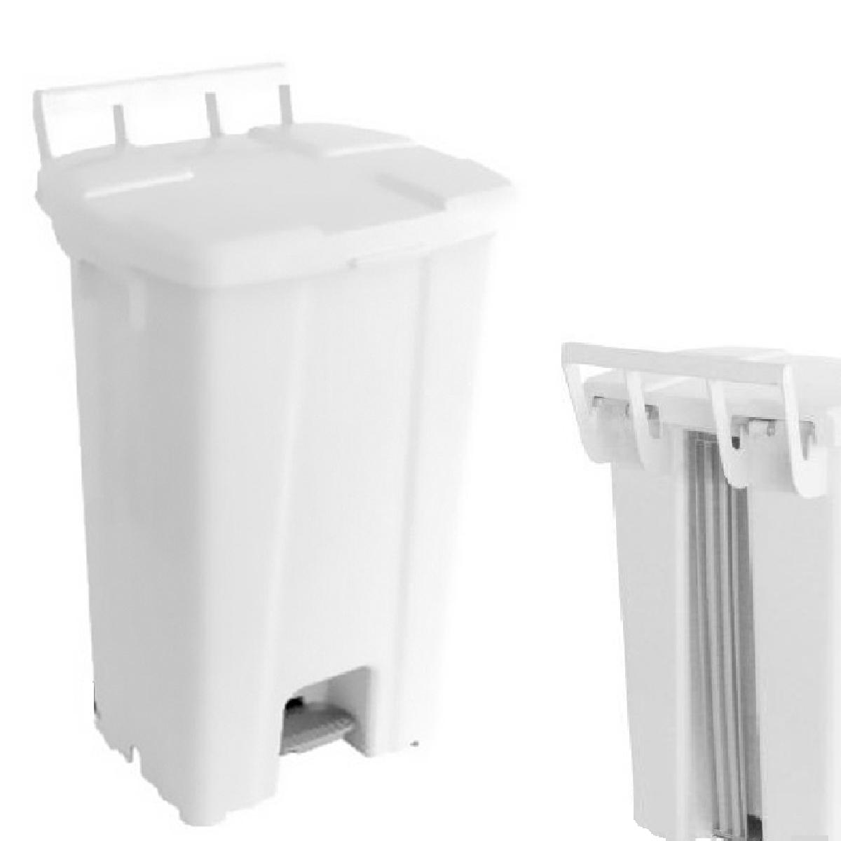 Cesta De Lixo Lixeira Com Pedal e Rodas 100 Litros C/ Suporte Branca JSN  - LZ COZINHA