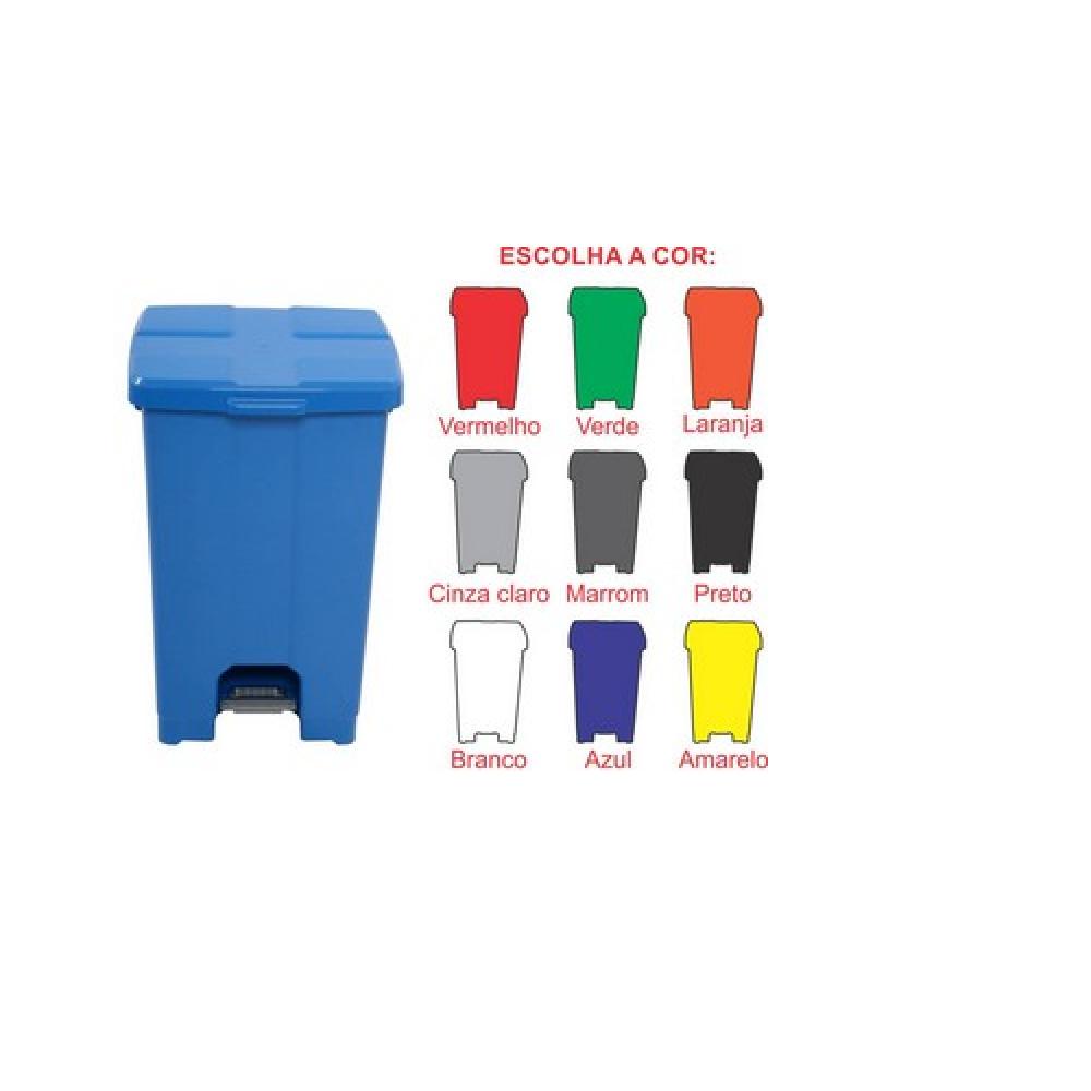 Cesto De Lixo  Lixeira Plástico Com Pedal 60 Litros P60 JSN Brancs  - Lixeira  - LZ COZINHA
