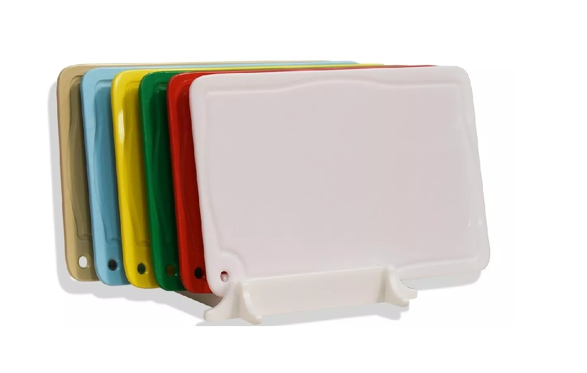 Kit 6 Placas De Corte Coloridas 50x30cm + Suporte Placas  - LZ COZINHA