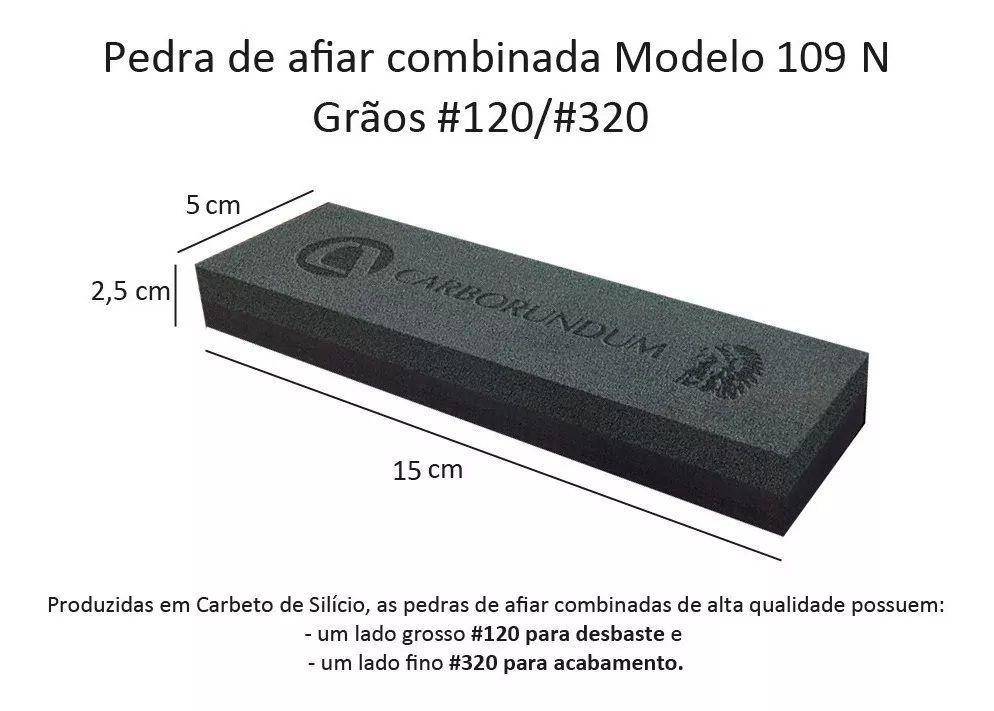 Pedra Para Amolar Faca Dupla Face 109n + Suporte Picelli Kit  - LZ COZINHA